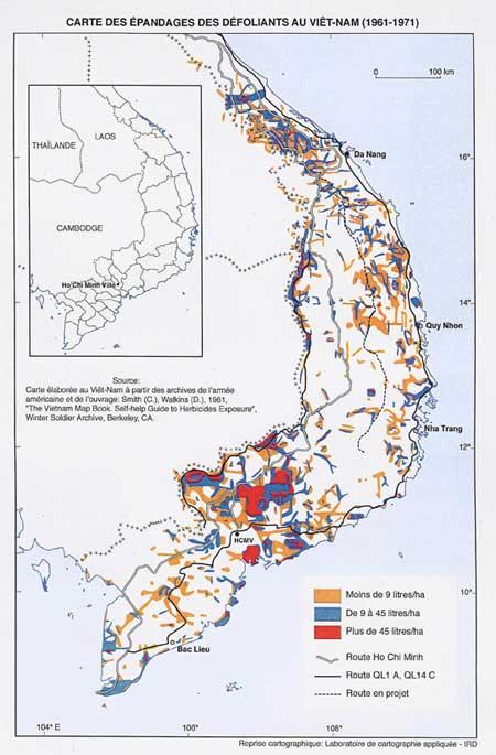 Zones d'épandage des herbicides au Vietnam